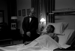 Pres. Lyndon B. Johnson, recovering from surgery, visited by Dr. James Cain