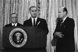 President Lyndon B. Johnson announcing the capture of Ku Klux Klan members suspected of murdering civil rights worker in Alabama