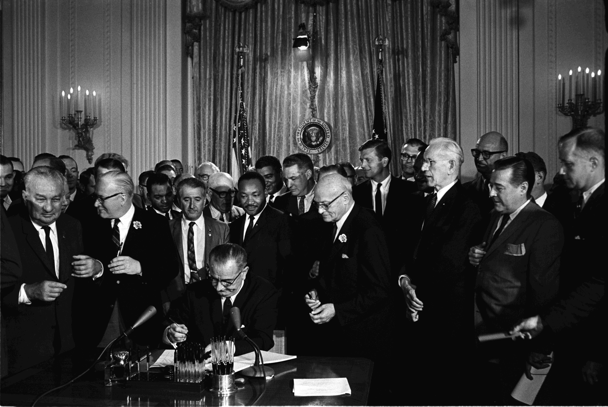 President Johnson Signs Civil Rights Act