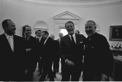President Lyndon B. Johnson presents Billy Graham with the Big Brothers of America Award