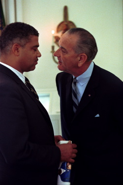 President Lyndon B. Johnson meeting with Civil Rights leader Whitney Young