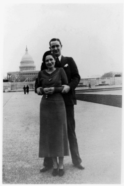 Lyndon B. Johnson and Lady Bird Johnson in front of the Capitol