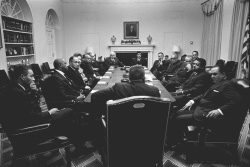 President Lyndon B. Johnson meets with members of the National Bar Association