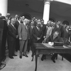 Signing of bill establishing the Department of Housing and Urban Development (HUD) also referred to as the Housing and Urban Development Act