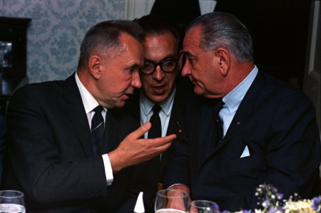 Photo of Kosygin talking to LBJ through interpreter