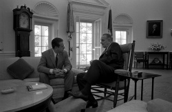 President Lyndon B. Johnson Meets with John Chancellor