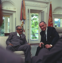 Meeting regarding announcement of Thurgood Marshall's nomination as an Associate Justice of the Supreme Court of the United States