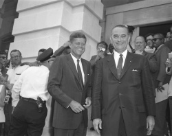 Images of Senators John F. Kennedy and Lyndon B. Johnson together