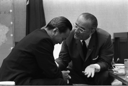 Pres. Lyndon B. Johnson meeting with President Nguyen van Thieu in Hawaii