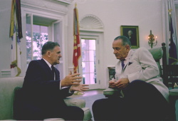 Hon. James Webb, Administrator, NASA, meets with President Lyndon B. Johnson