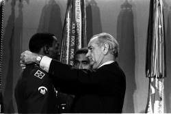 Pres. Lyndon B. Johnson presents Medals of Honor to five members of the U.S. Armed Services
