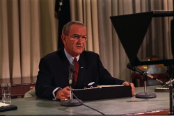 President Lyndon B. Johnson addresses the Nation, announcing a bombing halt in Vietnam and his intention not to run for re-election.